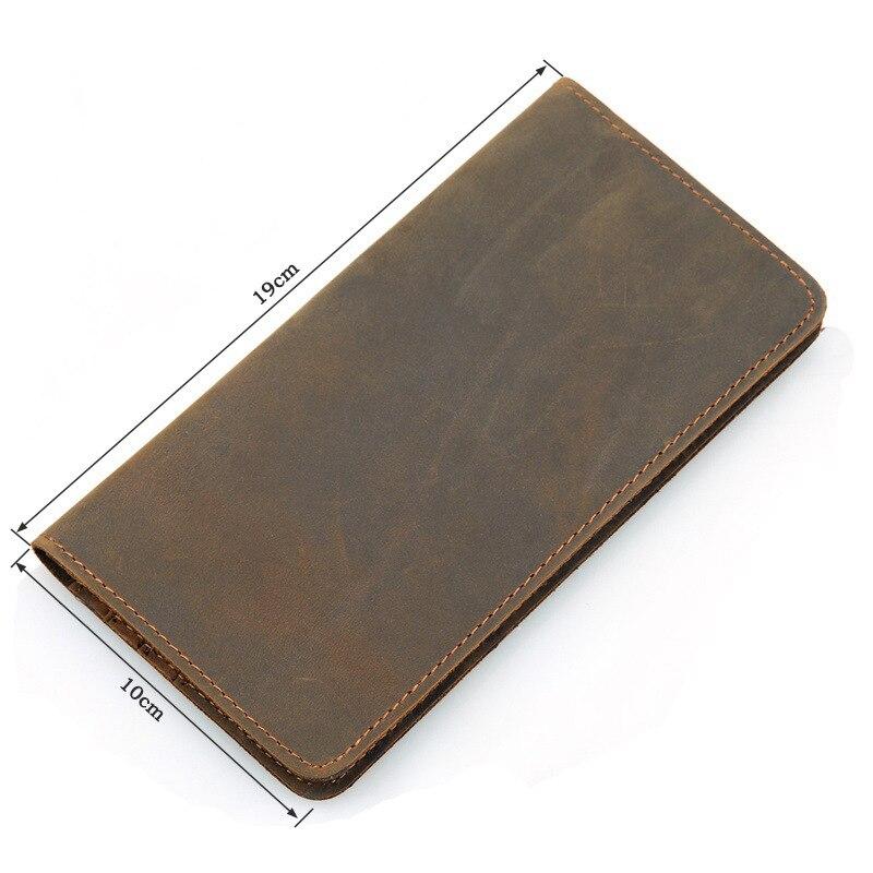 Portefeuille Cuir De Vachette En Véritable Marron Longue Vintage Carte 4L35RAj