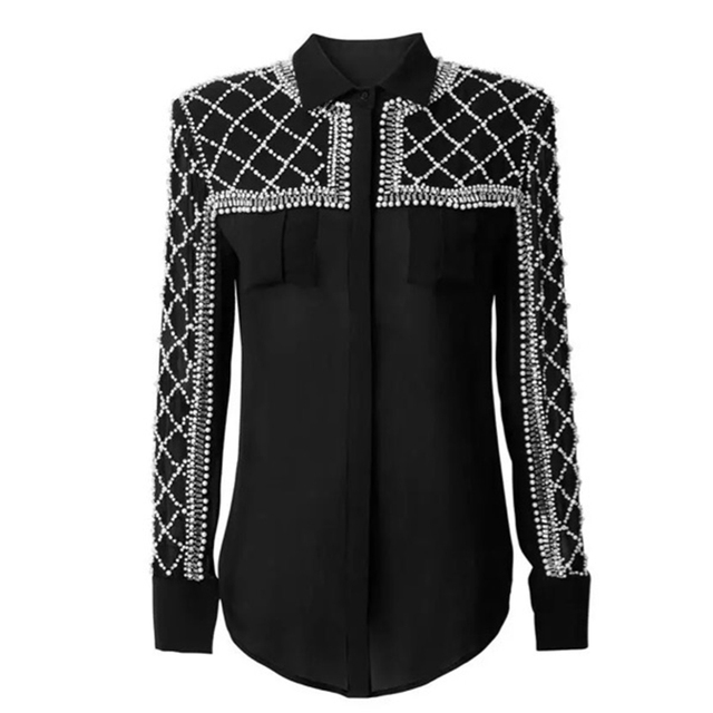 HIGH QUALITY New 2016 BARROCO Runway Designer Shirt Women's Perspective Luxury Manual Diamond Pearl Beading Blouse Shirt