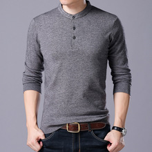 New Arrival 2017 Men Autumn Solid Smart Casual T Shirts Male Classic Casual Long sleeve Knited shirts Clothing men A17328
