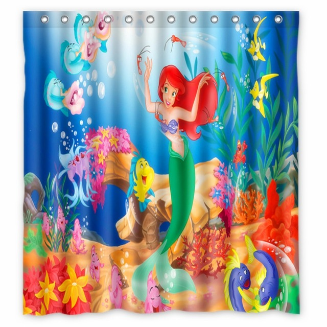 Anime Shower Curtain One Piece Dragon Ball Z Bleach Fairy Tail Naruto Together The Little Mermaid 66x72 Inch