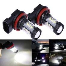 2x Car Front Fog Light Bulbs DRL LED H8 H9 H11 9005 9006 80W 12V 3030 16SMD LED 6000K High Power Fog Lamp Daytime Running Light