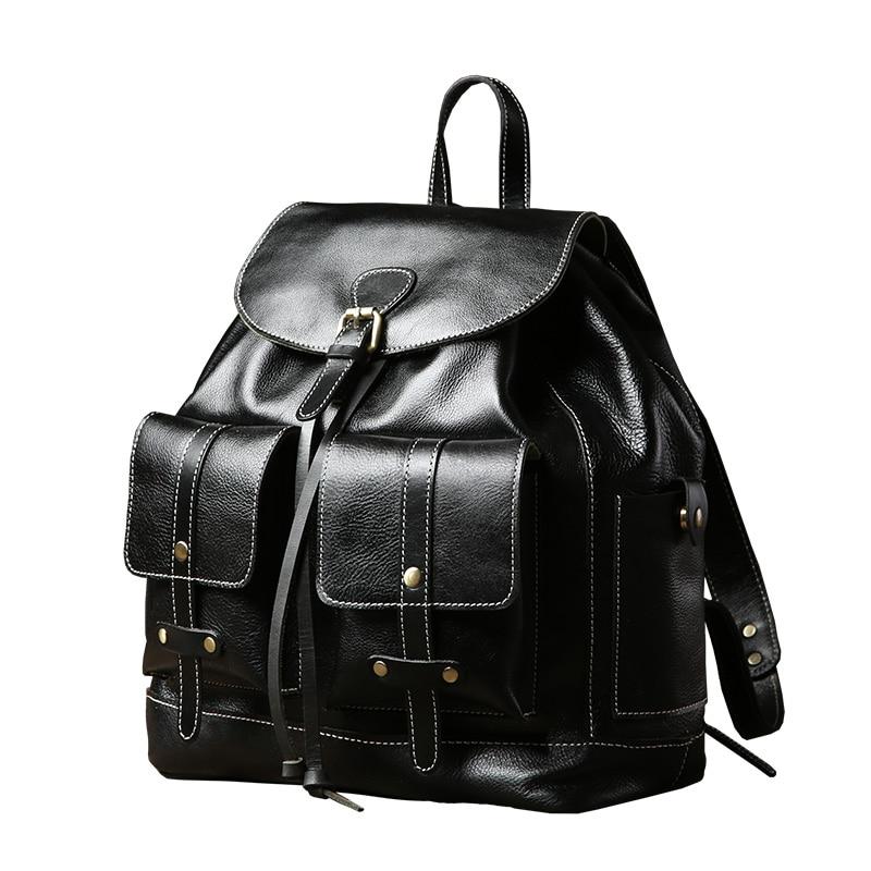 Natural Cow Leather Unisex Drawstring Closure Black Boy Girl Large Backpack Flap Pockets Bag Women Men