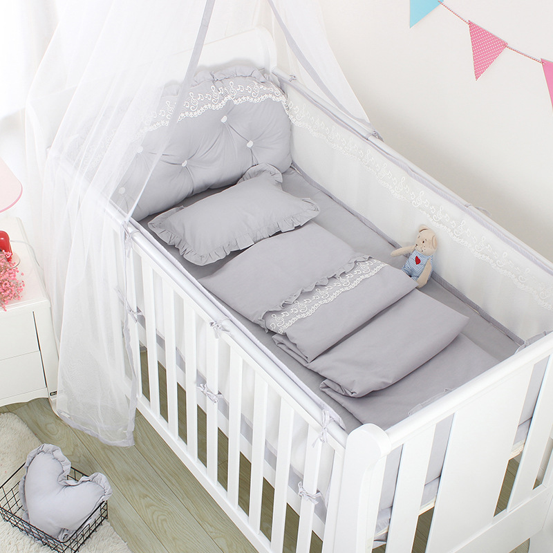 5Pcs Summer Breathable Baby Bed Mesh Bumper Baby Bed Fence Nordic Baby Crib Bed Bedding Set Bedroom Decoration Baby Room Product