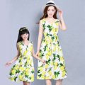 Family Look New Matching Mother And Daughter Dresses Bohemian Floral Printing Sleeveless Maxi Dress Plus Size AD-1687
