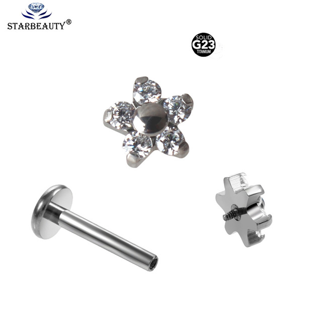 1 Pc 1.2*6/8mm Titanium Clear Crystal Flower Ear Cartilage Tragus Helix Piercing Screw Fit Top Labret Lip Bar Ring Body Jewelry