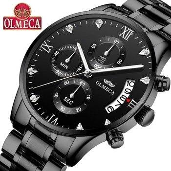 OLMECA new type luxury watches men fashion sport relogio masculino waterproof 30m elegant silver watch stainless steel