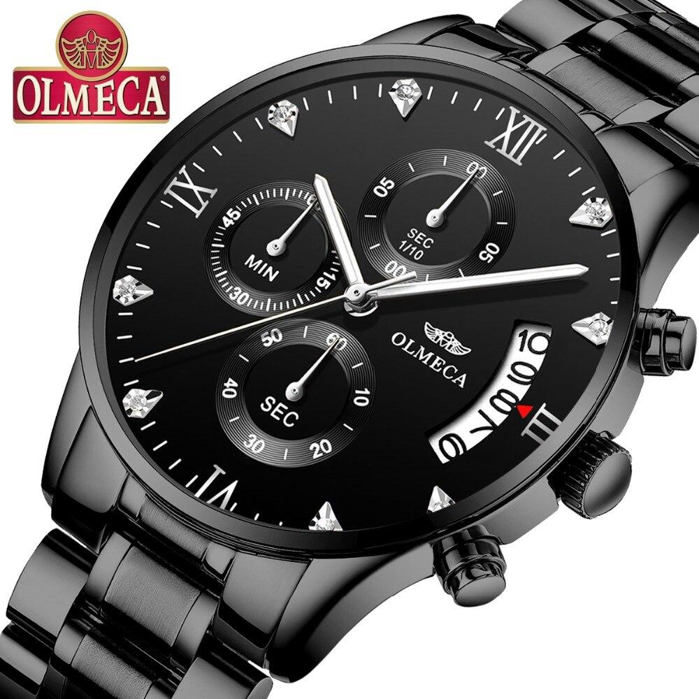 f6bc14be87b OLMECA nuevo tipo de relojes de lujo de los hombres de moda deporte reloj  masculino impermeable 30 m elegante reloj de plata de acero inoxidable