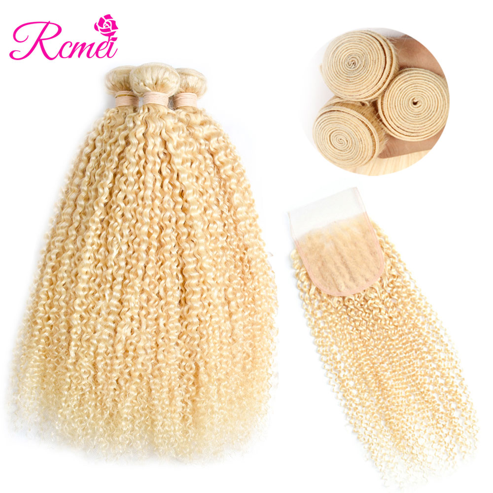 613 Blonde Malaysian Kinky Curly Bundles With Closure 4PCS Deal PreColored 613 Blonde Bundles With Closure Remy Human Hair Rcmei image