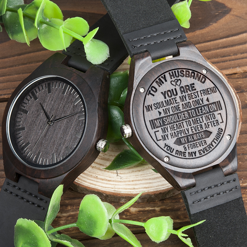 BOBOBIRD Best Gift TO MY Husband Personal Custom Ebony Leather Watch Idea GiftS Personalized Men Wood Wristwatch BOBOBIRD Best Gift TO MY Husband Personal Custom Ebony Leather Watch Idea GiftS Personalized Men Wood Wristwatch