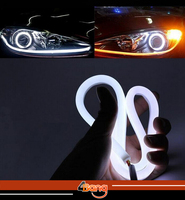 2x 60cm DRL Flexible LED Tube Tear Strip Style Car Headlight Light Amber White For Maxima