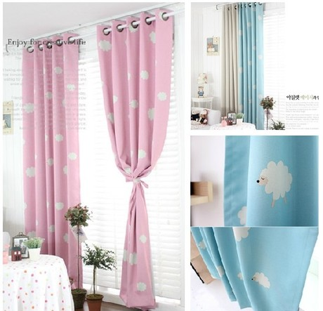 Free Processing High Quality Rustic Clouds Printing Blackout Curtain Children Bedroom Curtains Shipping