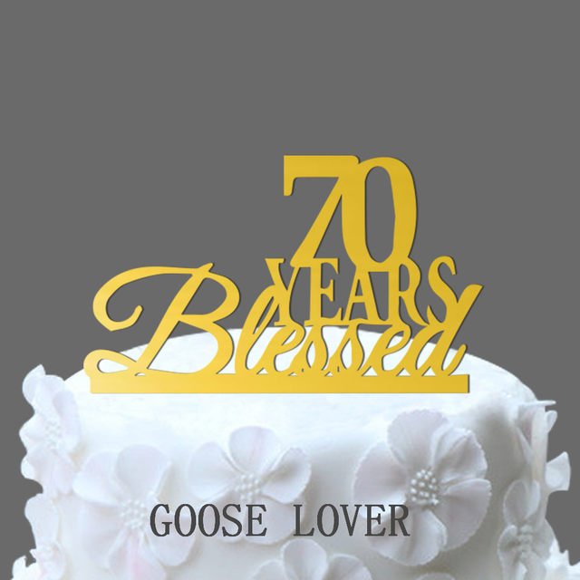 Online Shop Twinkling 70 Birthday Anniversary Cake Topper Silver ...