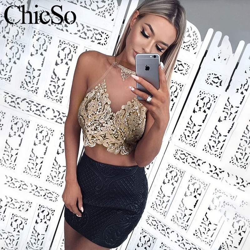 MissyChilli Halter gold glitter crop   top   Women transparent mesh bandage backless cami Party sexy club autumn camisole   tank     top