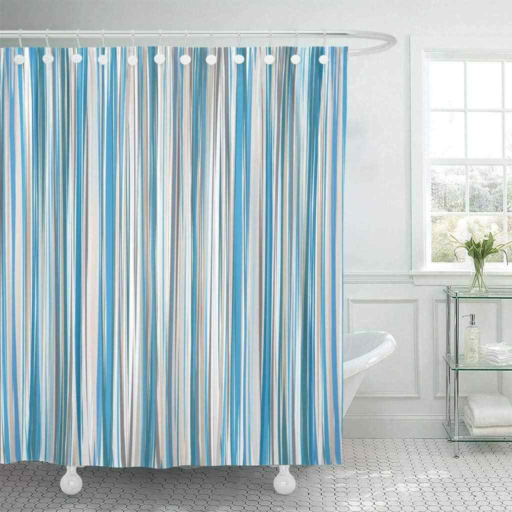 Shower Curtain with Hooks Brown Stripe Blue Beige White Striped Pattern Tan Line Strip Straight Pinstripe Modern
