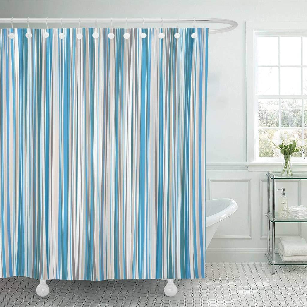 Shower Curtain With Hooks Brown Stripe Blue Beige White