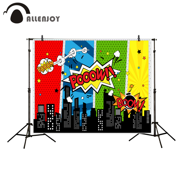 Allenjoy backdrop for photo studio superhero building kid colorful party celebrate photography background professional