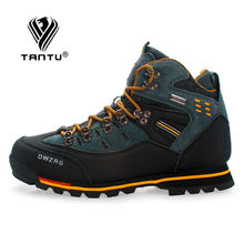 TANTU Men Hiking Shoes Waterproof Leather Shoes Climbing & Fishing Shoes New Popular Outdoor Shoes Men High Top Winter Boots(China)