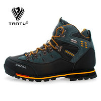 TANTU Men Hiking Shoes Waterproof Leather Shoes Climbing & Fishing Shoes New Popular Outdoor Shoes Men High Top Winter Boots