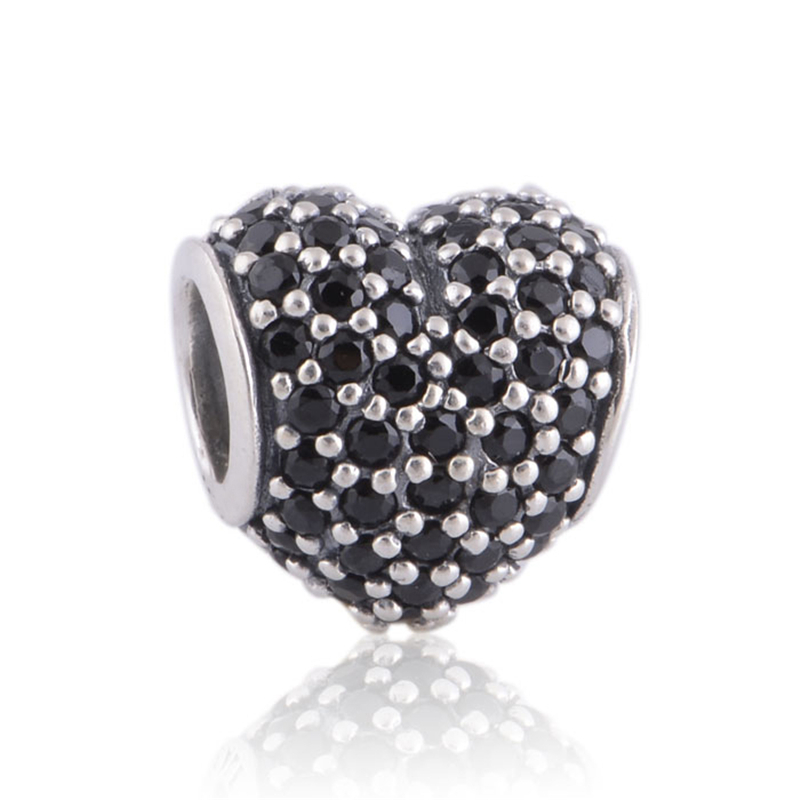 fits pandora original charm bracelet authentic sterling silver 925 beads black crystal heart european charm women authentic black crystal