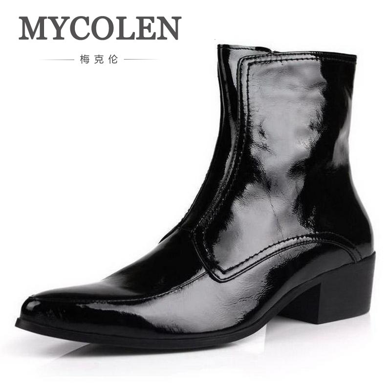 MYCOLEN Autumn Winter New Mens Genuine Leather Boots High Heels Fashion Pointed Toe Zip Ankle Boots High Top Black Men Shoes arrylinfashion british fashion all match ankle boots top leather autumn botas femininas pointed toe charming thin high heels