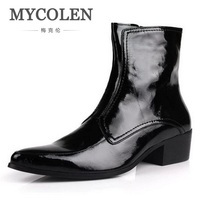 Mycolen осень зима Новый Для мужчин s ботинки из натуральной кожи Высокие каблуки модные острый носок молния Ботильоны Высокий Верх черный Мужс