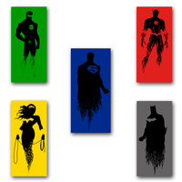 Justice League 5pcs Combination Movie Poster Print Superman The Flash Wonder Woman Green Lantern Batman Silk