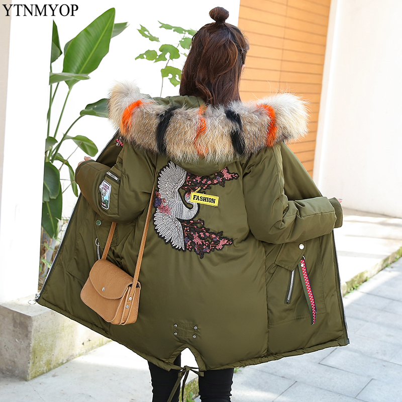 YTNMYOP 2019 Winter Women 39 s Coats Embroidery Parkas Female Thick Warm Wadded Jacket Coat Cotton Padded Clothing Plus Size S 3XL in Parkas from Women 39 s Clothing