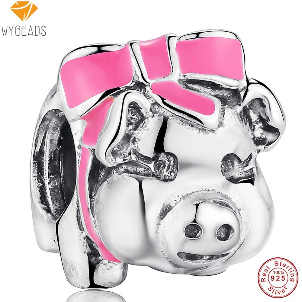 WYBEADS 925 Sterling Silver Charms Pink Enamel Piggy Bank European Bead Fit Snake Chain Bracelet Original Jewelry Making