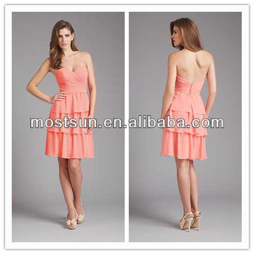 40485b85c5a2 BM178 A Line Sweetheart Neck Layers Skirt Chiffon Short Salmon Colored  Formal Bridesmaid gownes In China