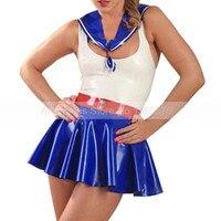 Косплэй сексуальный латекс студентов форма платье один набор латекса для девочек Лолита платья костюмы S LU039