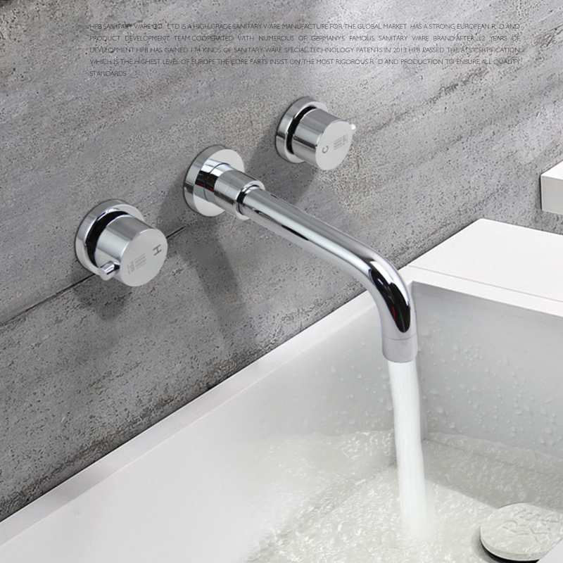 High Quality Brass Chrome Dual Handles Hot Cold Water Tap Mixer Wall Mounted Faucet Bathroom Mixer Tap WallHigh Quality Brass Chrome Dual Handles Hot Cold Water Tap Mixer Wall Mounted Faucet Bathroom Mixer Tap Wall