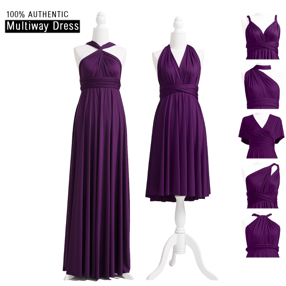 Dark Purple Bridesmaid Dress Multiway Long Dress Plus Size Maxi Infinity Dress Convertible Wrap Dress With Halter Styles