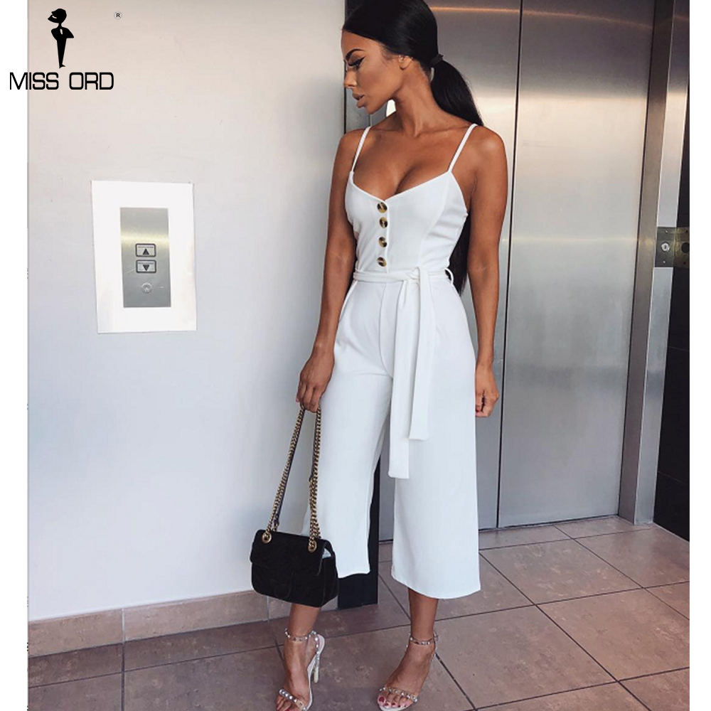 Missord 2019 Sexy  Women V-Neck  Off Shoulder Sleeveless Jumpsuit Lace-Up Button Backless  Playsuit  TB0045