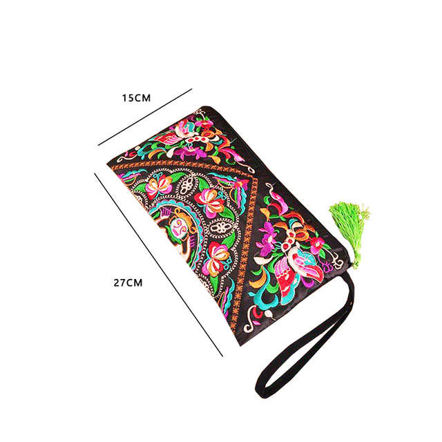 2019 New National Ethnic Women Embroidery Wallet Embroidered Flower Coins Purse Bags Women's Small Handbag Clutch Bag 3 Styles 2