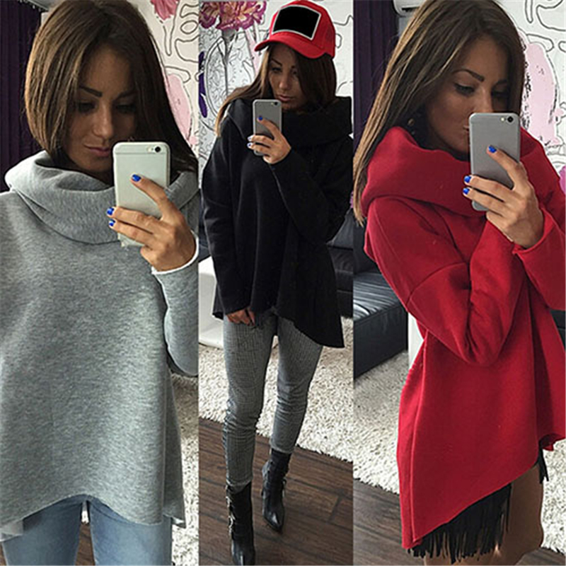 Women's Autumn Winter Casual Cowl Neck Long Sleeve Solid Sweatshirt Blouse