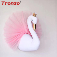Tronzo 1Pcs 3D Golden Crown Swan Wall Hanging Nursery Decor Stuffed Doll Toys For Kids Room Wedding/Birthday Gift Dropshipping