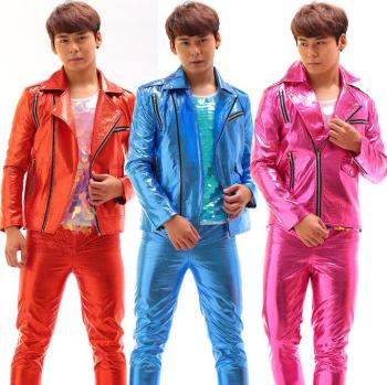 Stage personality men pants oblique zipper jacket men coat feet trousers singer dance rock fashion novelty red blue pink