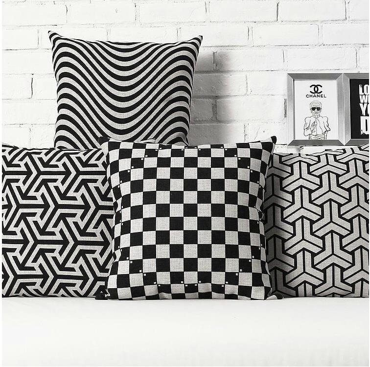 Nordic   Black Stripes Geometric Linen Cotton Cushion  Pillow   Office Home Decorate Sofa Cushions