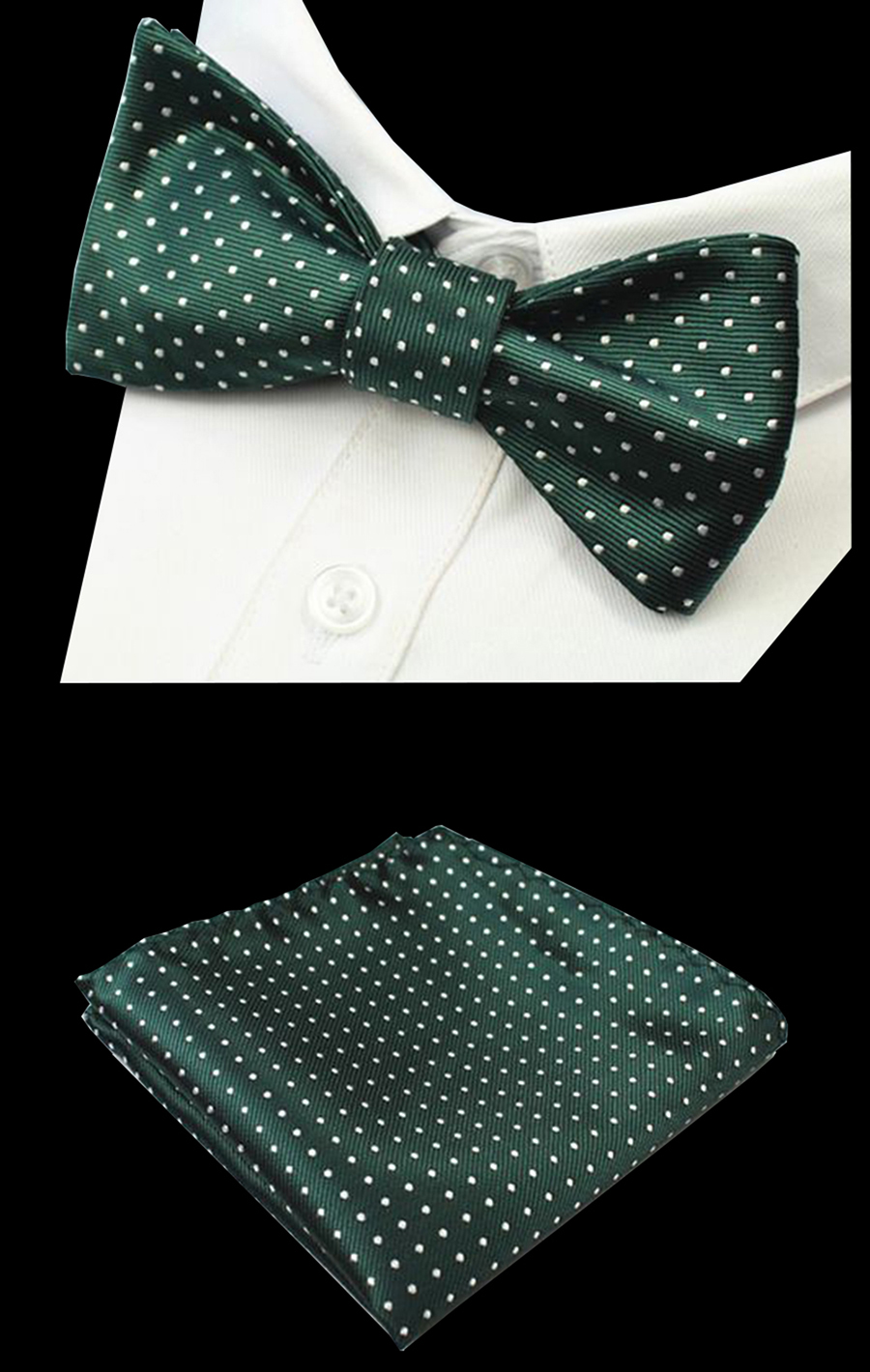 RBOCOTT Mens Self Dot Bow Tie Set Green Silk Jacquard Woven Bowtie Set Wedding Bowties And Pocket Square Birthday Party
