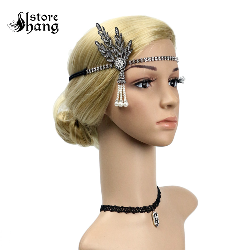 us $11.89 30% off|vintage flapper headband daisy buchanan costume great gatsby leaf tiara headpiece 1920's fancy dress bridal hair accessory-in