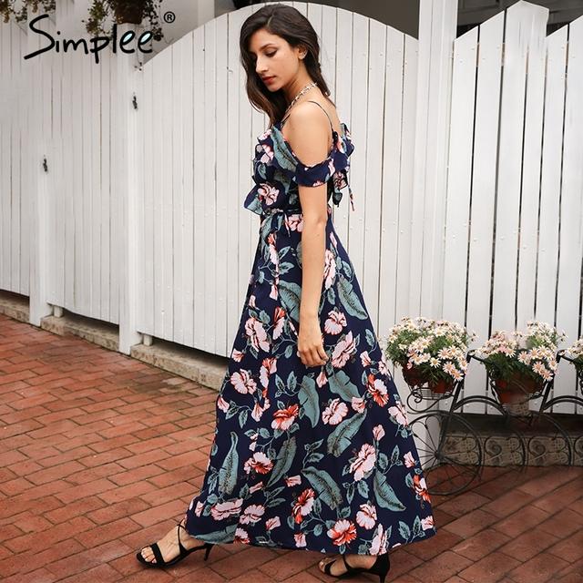 Simplee Cold shoulder ruffles print chiffon long dress women Strap v neck split backless maxi dress Sexy summer beach dress