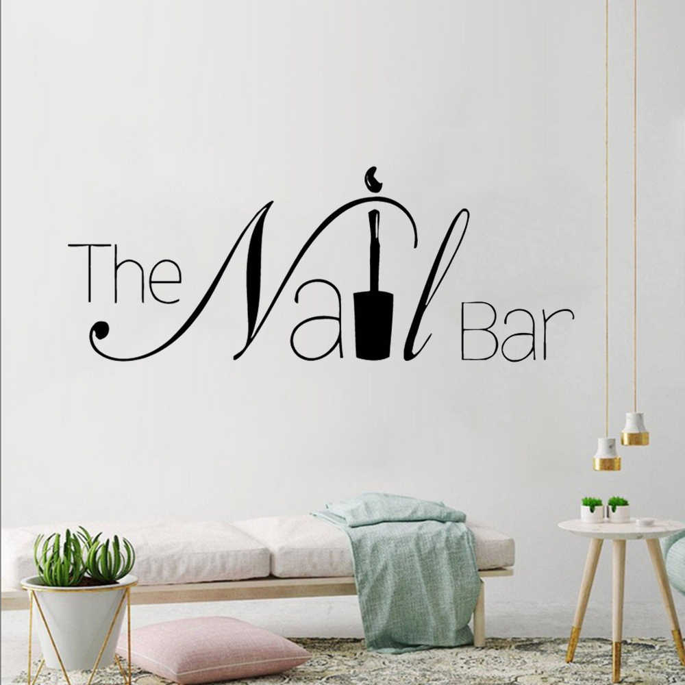 Nail Salon Decoration The Nail Bar Logo Vinyl Wall Decals Removable Manicure Wall Stickers Nail Shop Wall Window Decal Az029