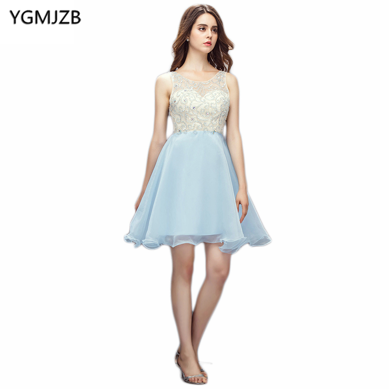 2018 Blue Cocktail Dresses 2018 New Fashion A Line Sheer Scoop Open Back Beaded Sequined Short Dress Party Cocktail Dresses