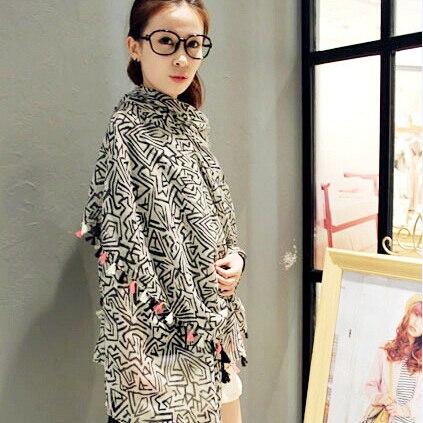 Super Pretty Fashion Popular 2015 New Design Retro Style Black Large Size Elegant assel   Scarves     Wrap   Shawl Cape   Scarf   For Women