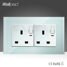 Double 13A UK Switched Socket Wallpad White Crystal Glass 110v-250V 146*86mm Button Switch and 13A UK Wall Socket Free Shipping