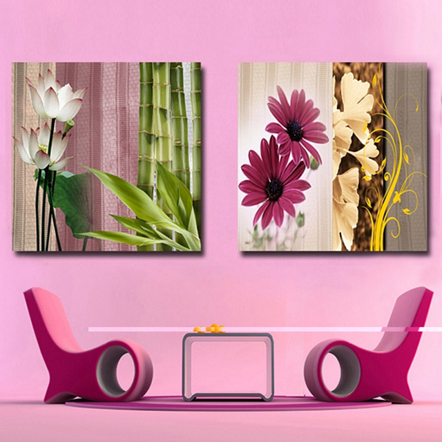 Natural plants canvas art painting green bamboo pictures for living ...