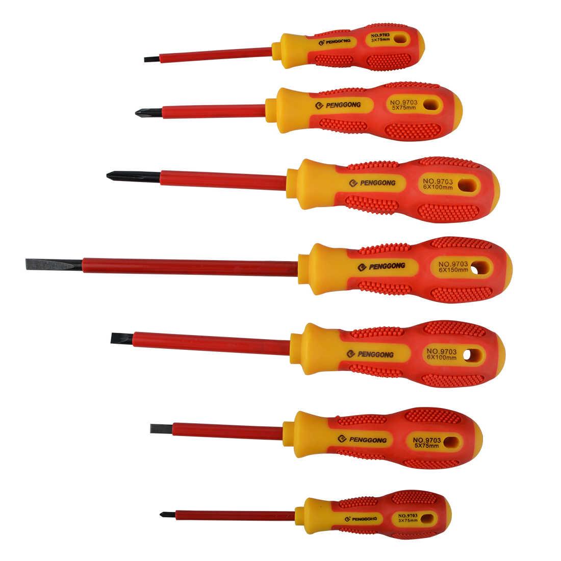 Terisolasi Obeng Menahan Tegangan 1000V Presisi Magnetic Phillips Berlubang untuk Peralatan & Perlengkapan Listrik