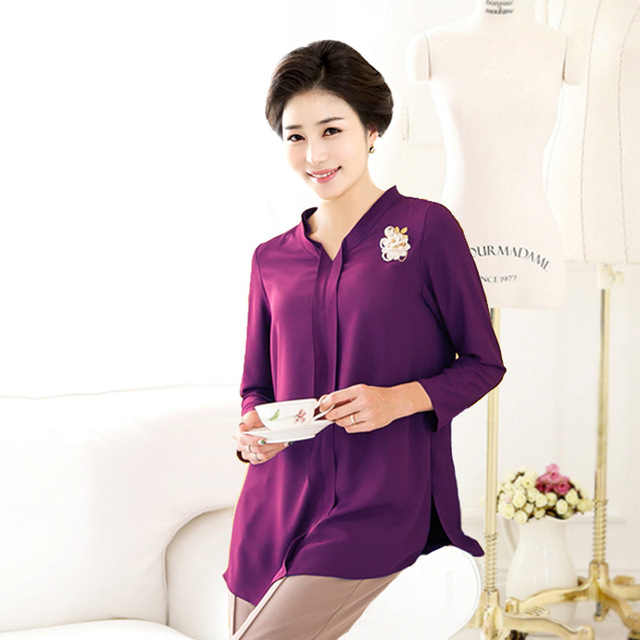 Middle Aged Women Tops Plus Size Mother Chiffon Shirt Clothing Female  Pullover Big Size 5Xl 6xl Blouses Casual Mom Clothes bd06a66a6011