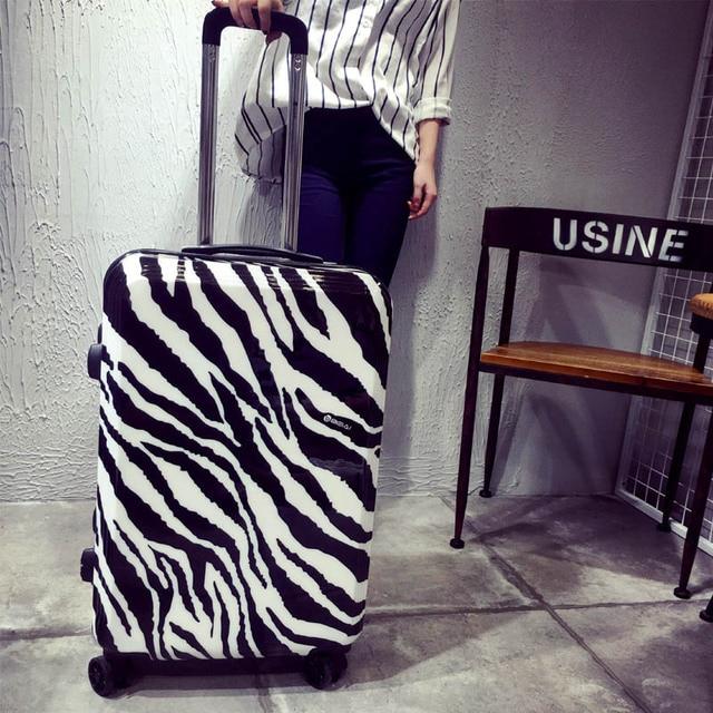 Zebra printing luggage suitcase fashion travel trolley spinner luggage