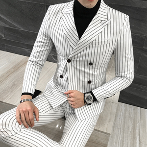 3 Pieces ( Jacket + Vest +Pants) Mens Double-breasted Suit Fashion Striped Groom Wedding Tuxedo for Men Casual Business Suit
